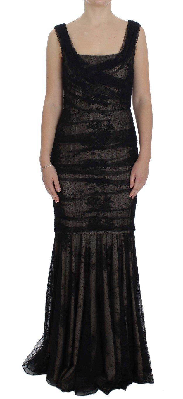 Dolce & Gabbana Women's Floral Lace Long Dress Black NOC10085 - IT46   L