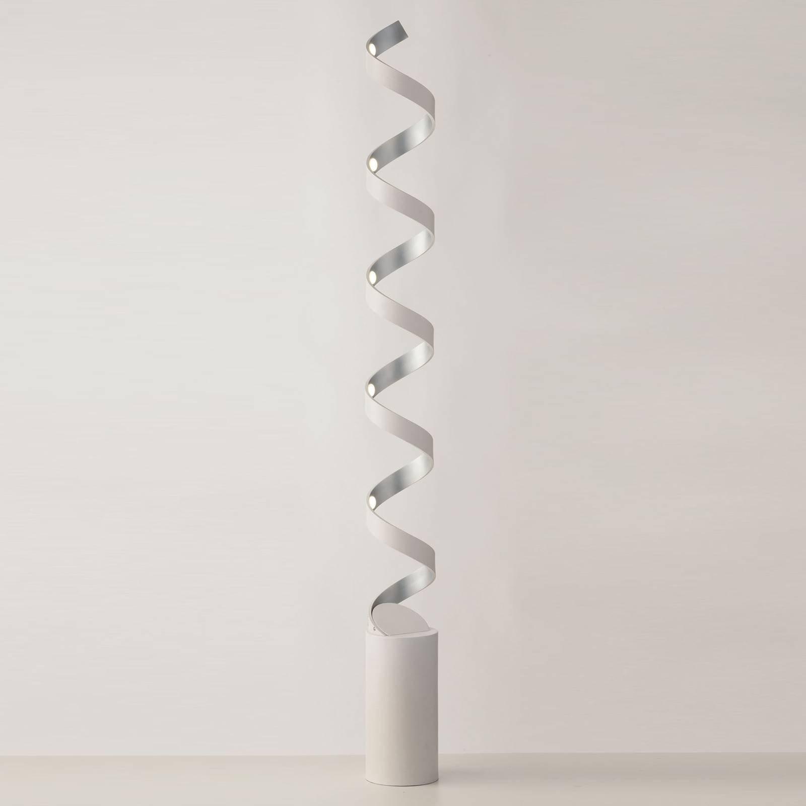 LED-gulvlampe Helix, høyde 152 cm, hvit-sølv