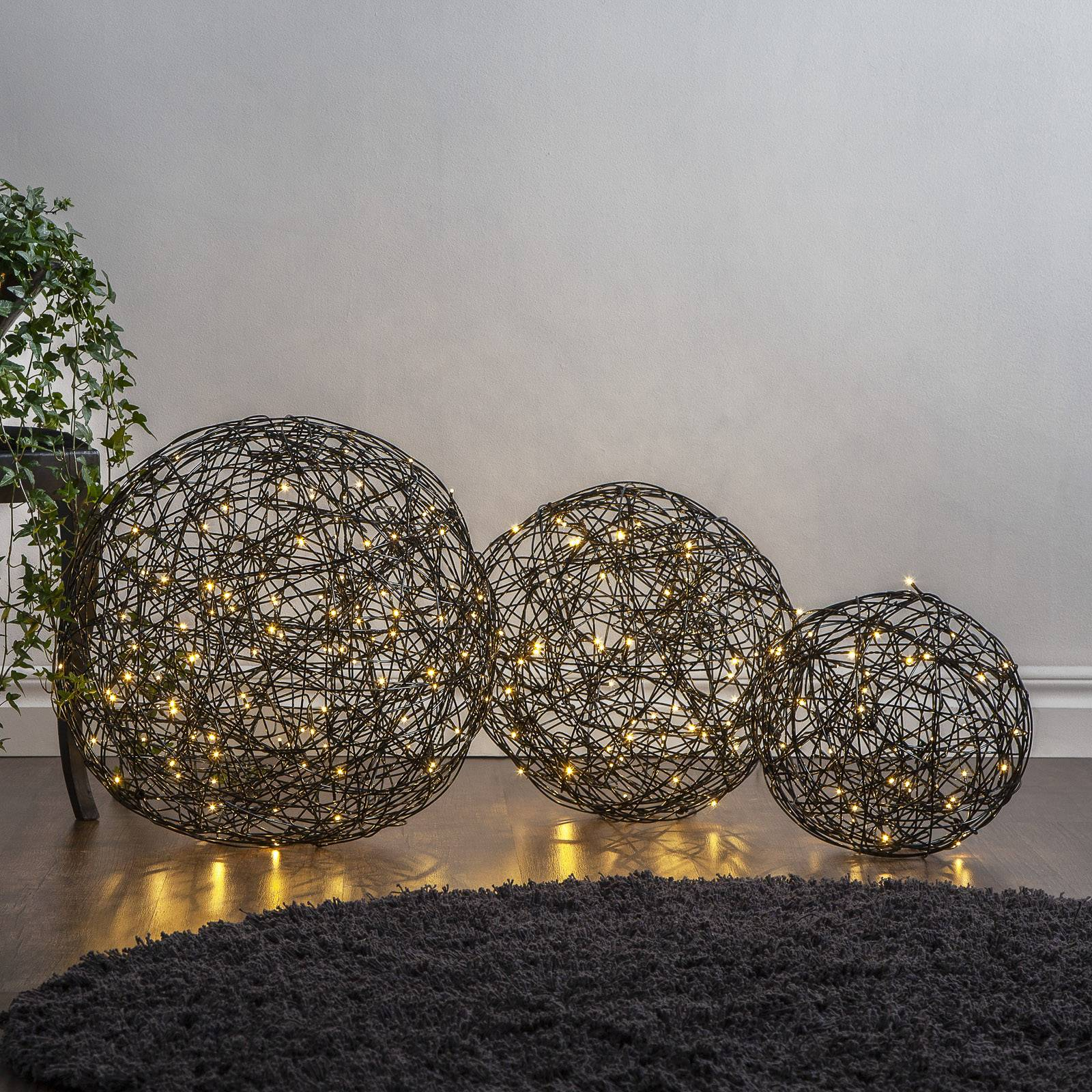 Galax-LED-3D-design-pallo, musta Ø 50 cm