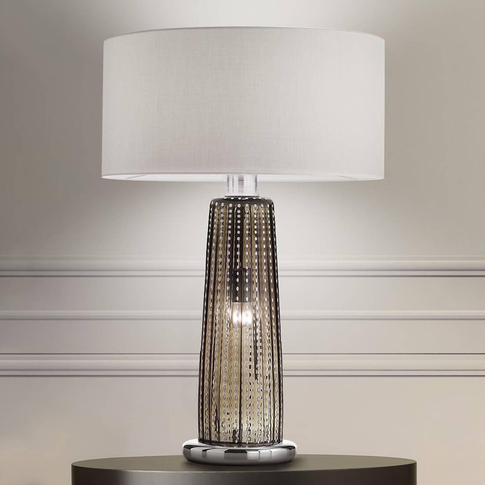 Bordlampe Perle, tekstilskjerm, grått glass