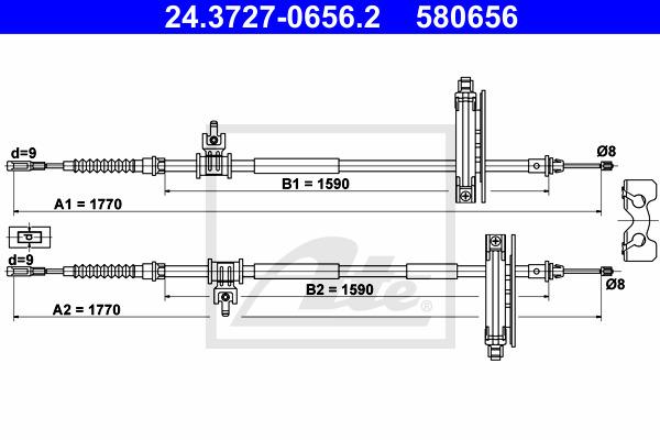 Käsijarruvaijeri ATE 24.3727-0656.2