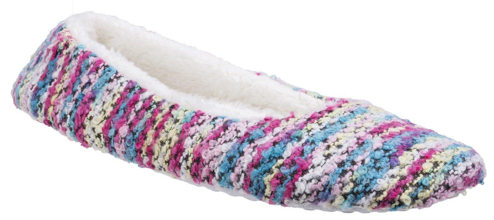 Divaz Women's Morzine Knitted Slipper Various Colours 25587 - Pink 4