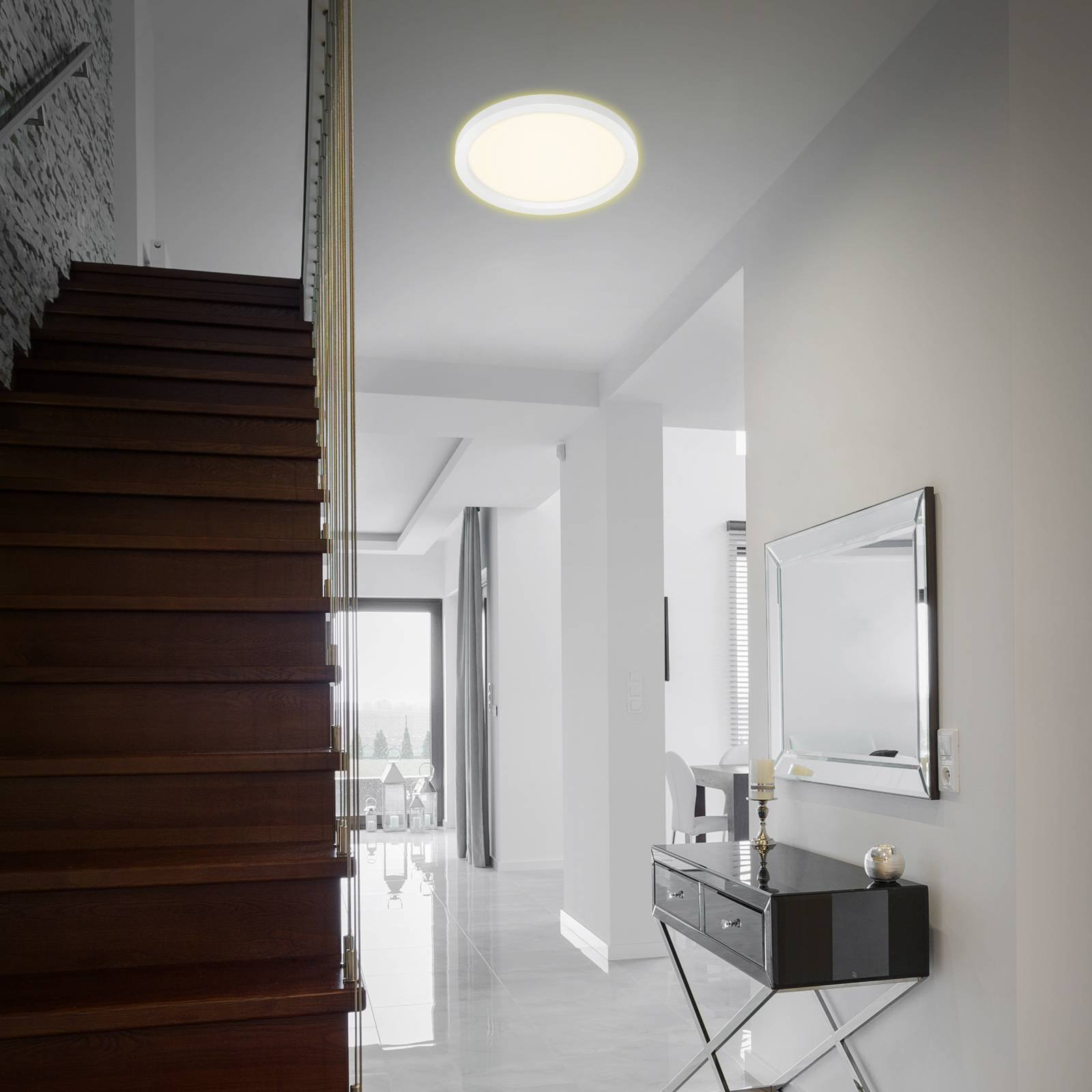 LED-taklampe 7361, Ø 29 cm hvit