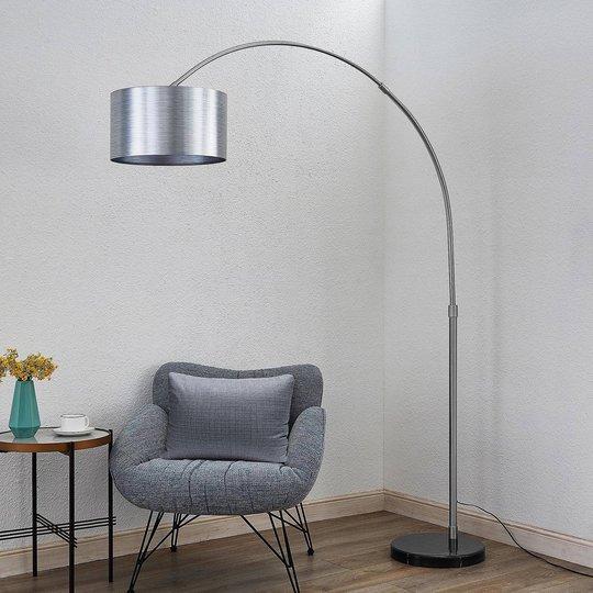 Lindby Dexin buet gulvlampe, metallisk sølv