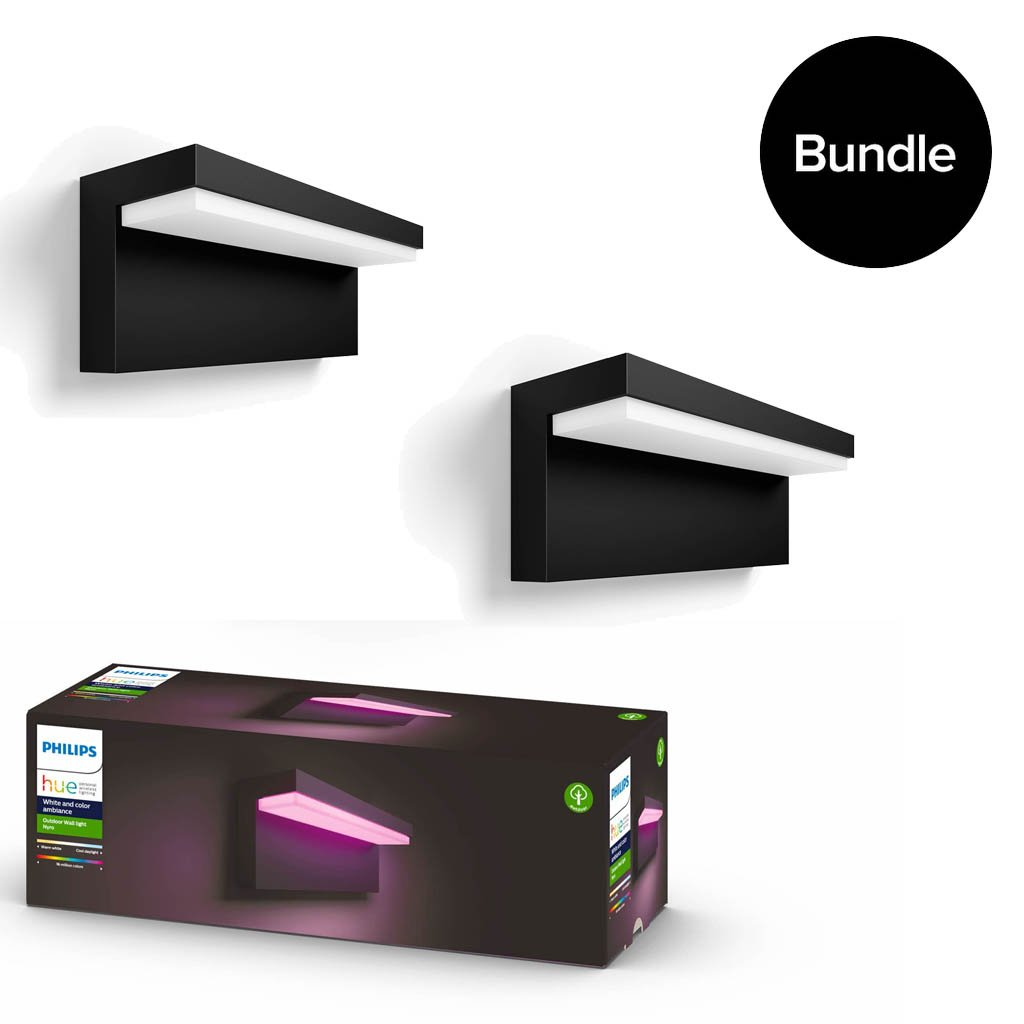 Philips Hue - 2x Nyro Outdoor Wall Light - White & Colour Ambiance - Bundle