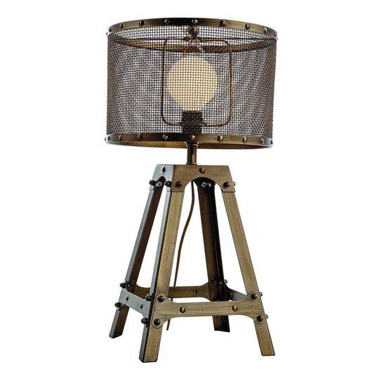 Bordlampe Afelio i stål, oksidbrun