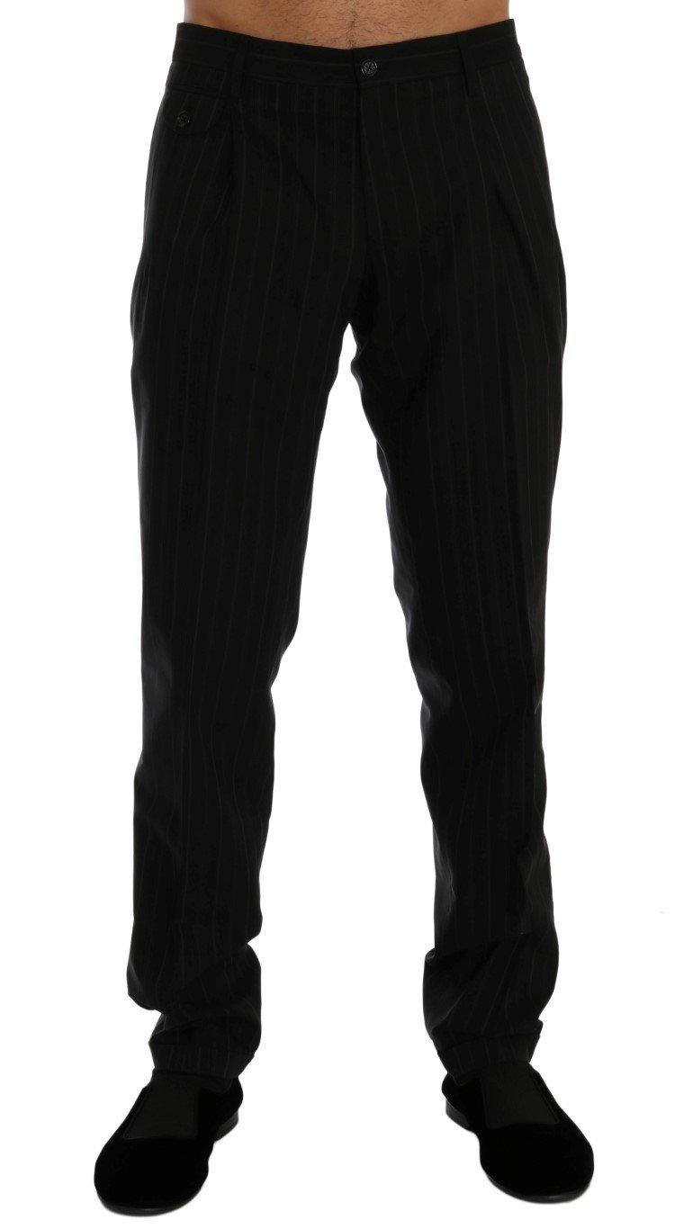 Dolce & Gabbana Men's Striped Cotton Dress Formal Trouser Black PAN60344 - IT52 | XL