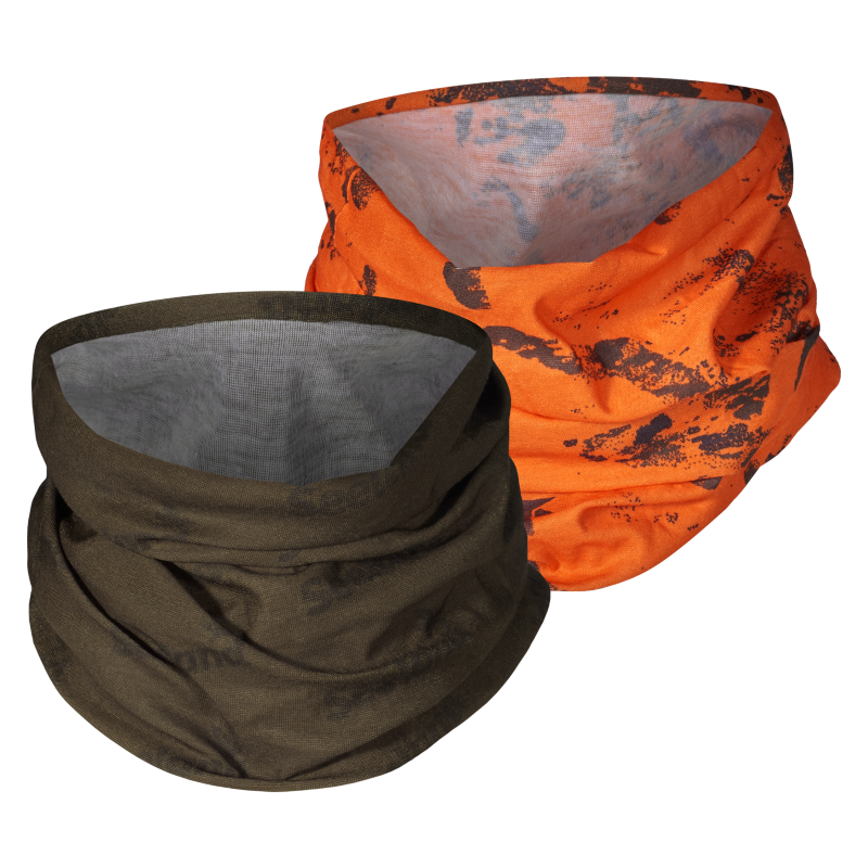 Seeland Neck Gaiter 2-pack hals One Size Pine green og InVis orange blaze halser