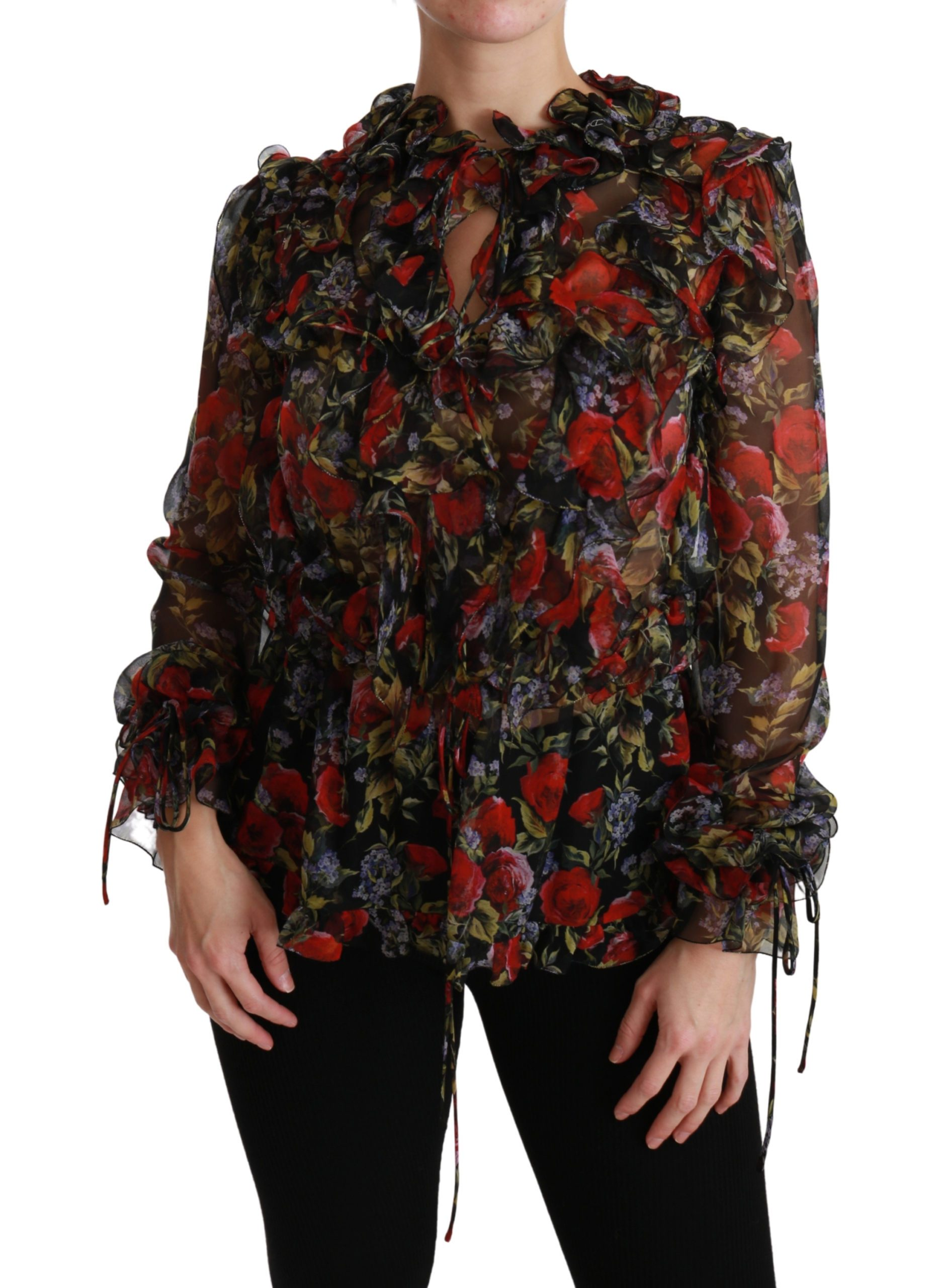 Black Floral Roses Blouse Silk Top - IT36 | XS