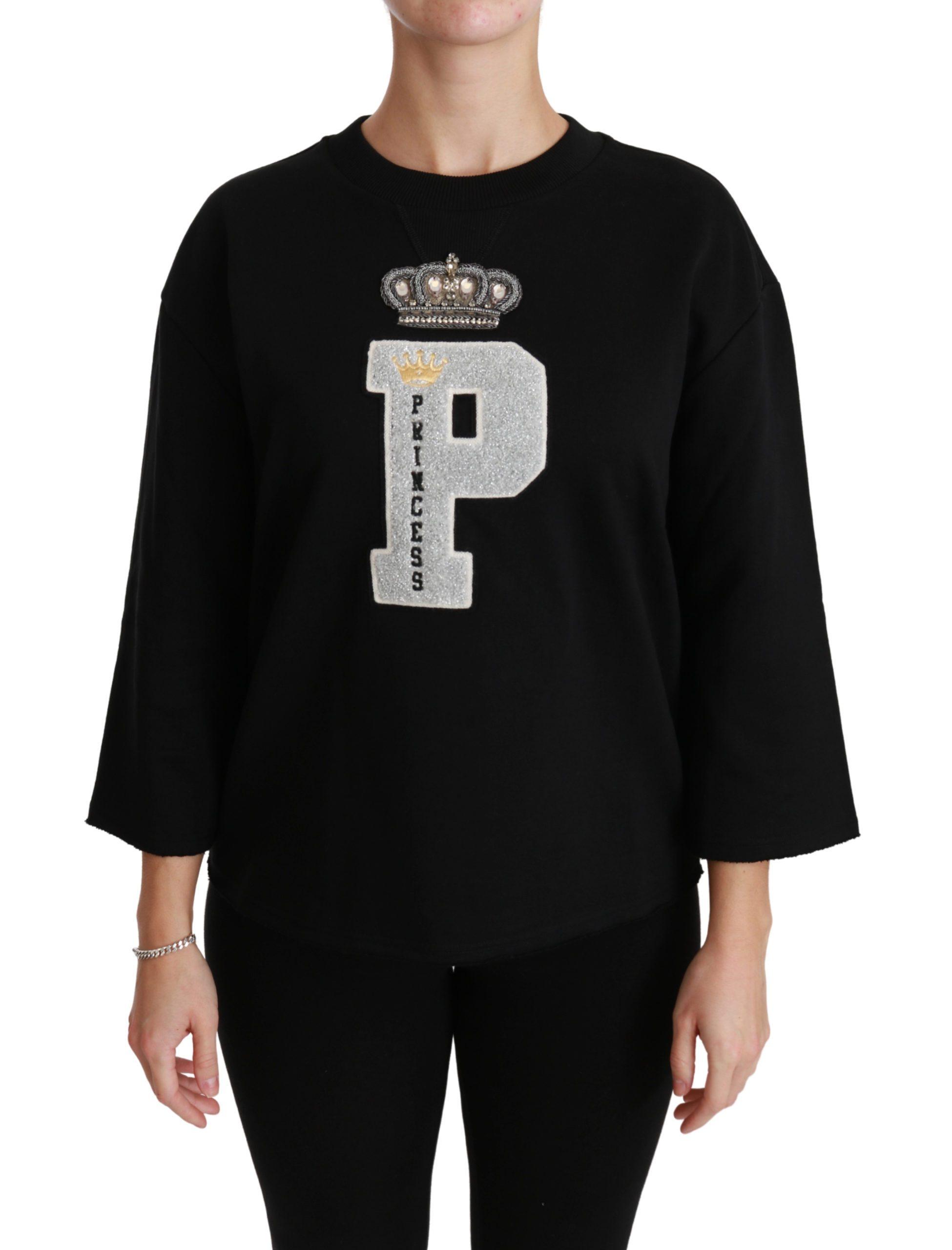 Black Princess Crystal Crown Top Sweater - IT46|XL