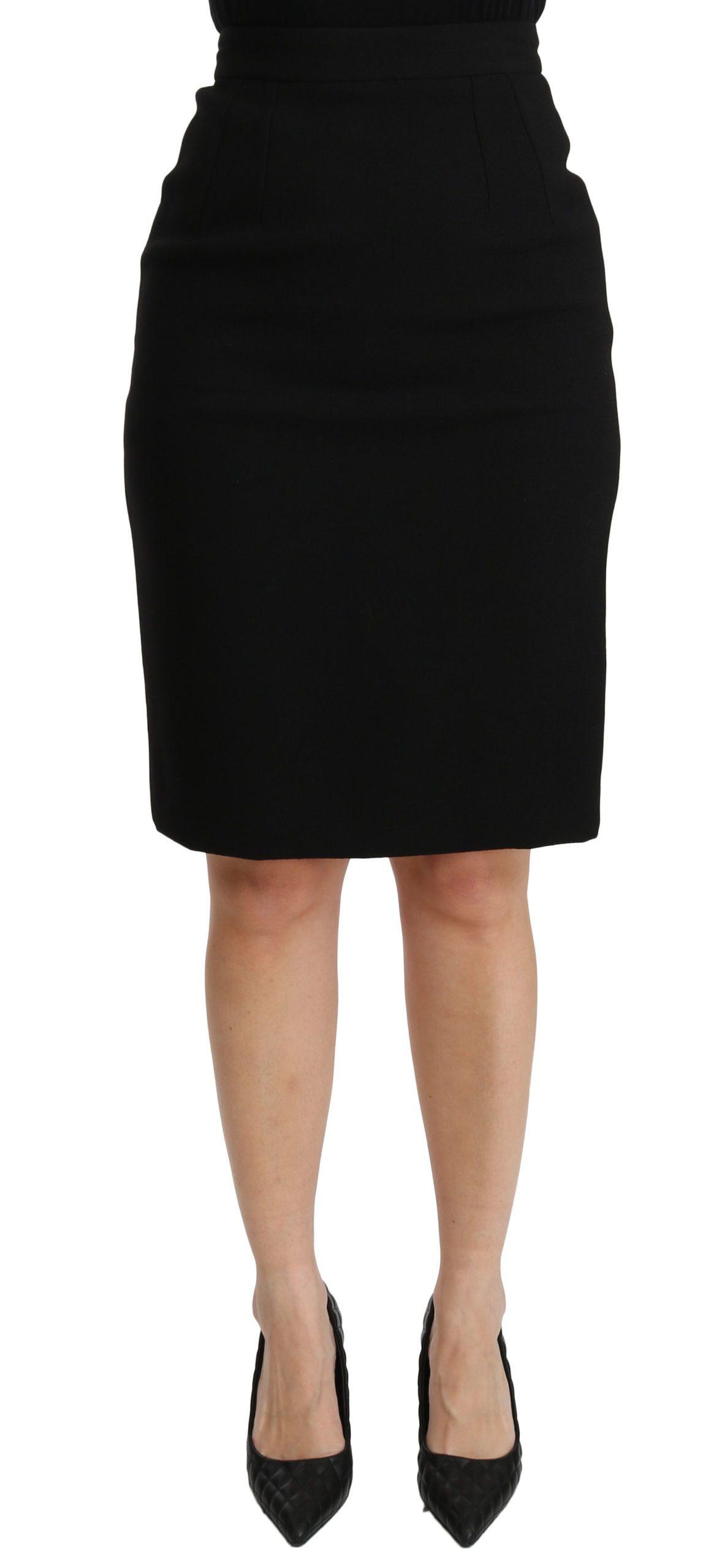 Dolce & Gabbana Women's Pencil Cut High Waist Skirt Black SKI1381 - IT40|S