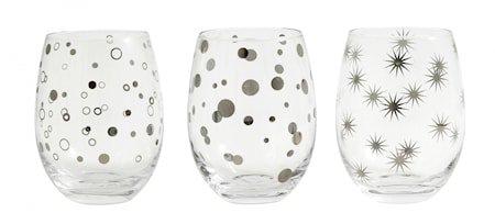 IRIS Drikkeglass avrundet med sølvmønster