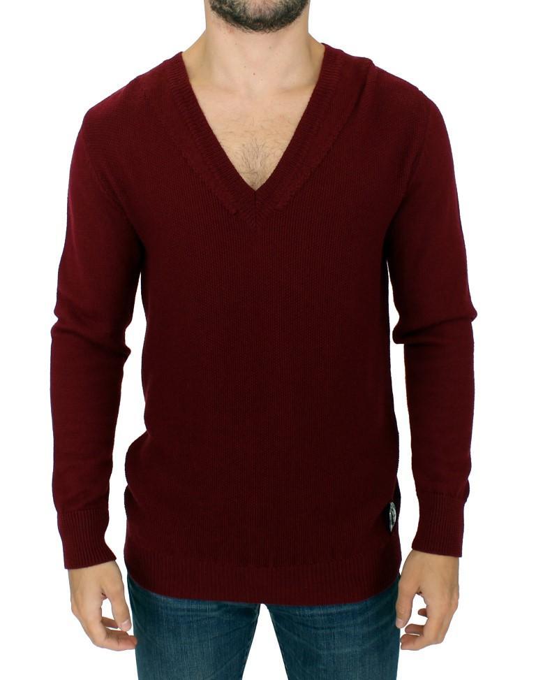 Karl Lagerfeld Men's V-Neck Sweater Bordeaux SIG10561 - XL