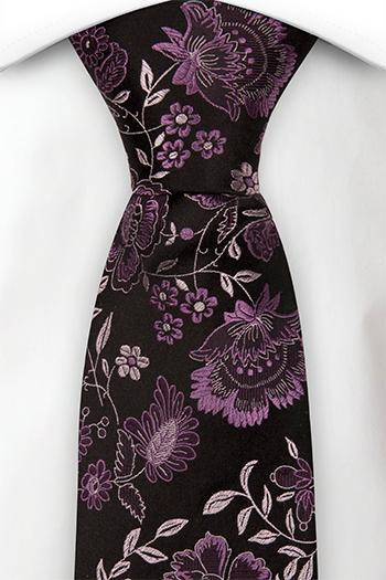 Silke Slips, Lilla og sølv blomster på sort, Svart, Blomstrete