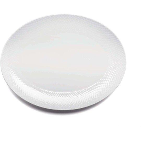 Lyngby Porcelæn Rhombe Oval serveringsfat 35x26,5 Vit