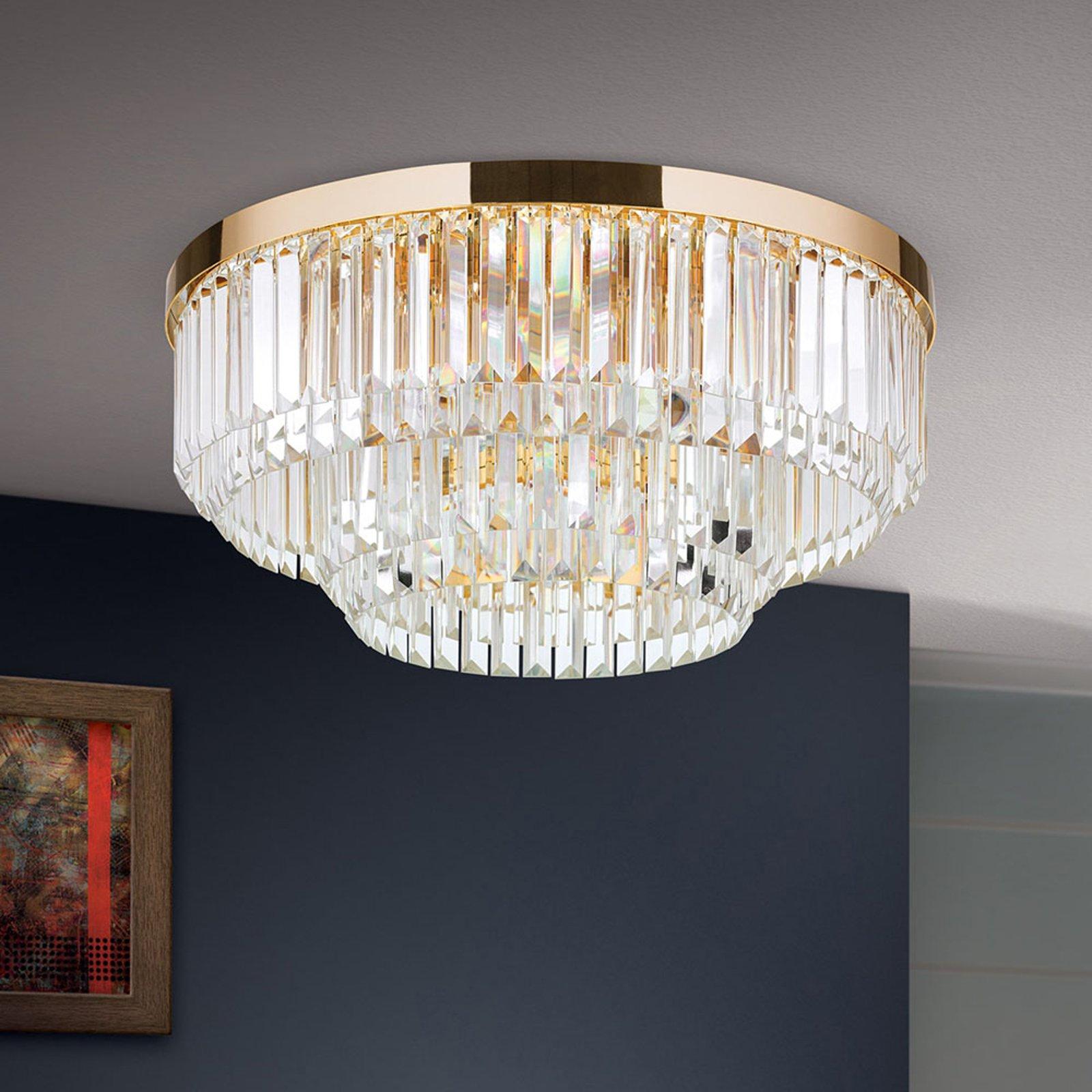 LED-taklampe Prism, gull, Ø 55 cm