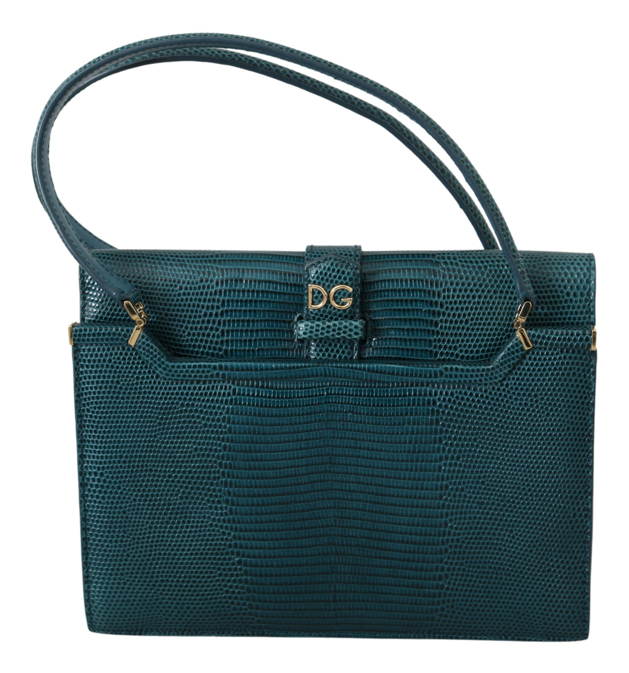 Dolce & Gabbana Women's Iguana Calfskin Leather Handbag Blue VAS9766