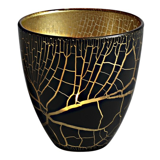 Nybro Crystal - Croco Ljuslykta 10 cm Svart/Guld