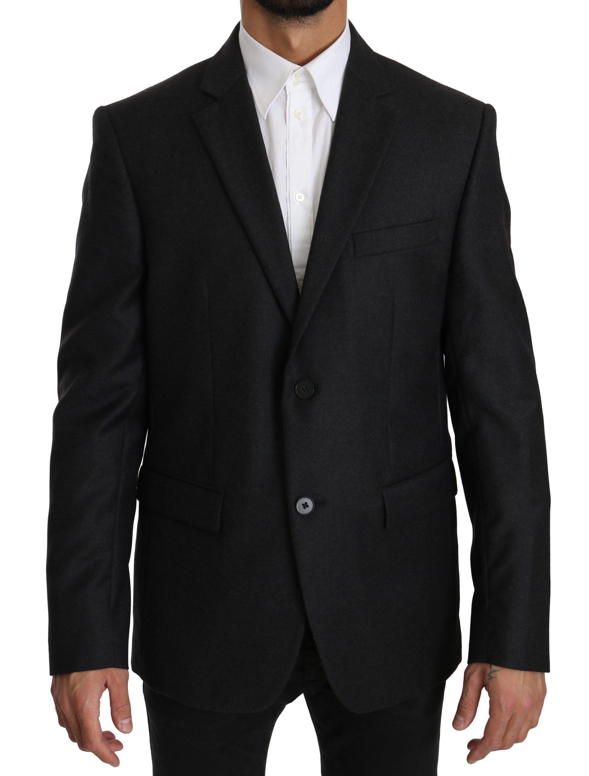 Dolce & Gabbana Men's Wool Slim Fit Two Button Blazer Gray KOS1560 - IT54 | XL