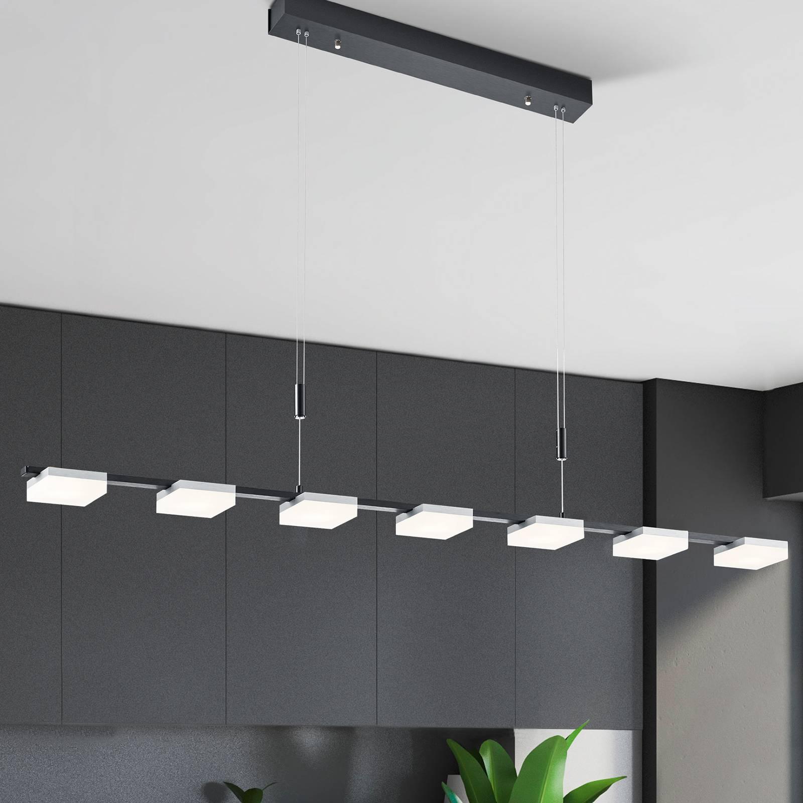 Bopp Quad -LED-riippuvalo, 7-lamppuinen, alumiini