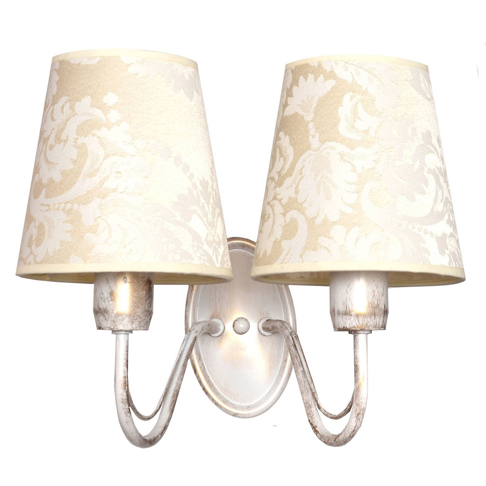 Vegglampe Malbo, hvit, med tekstilskjerm