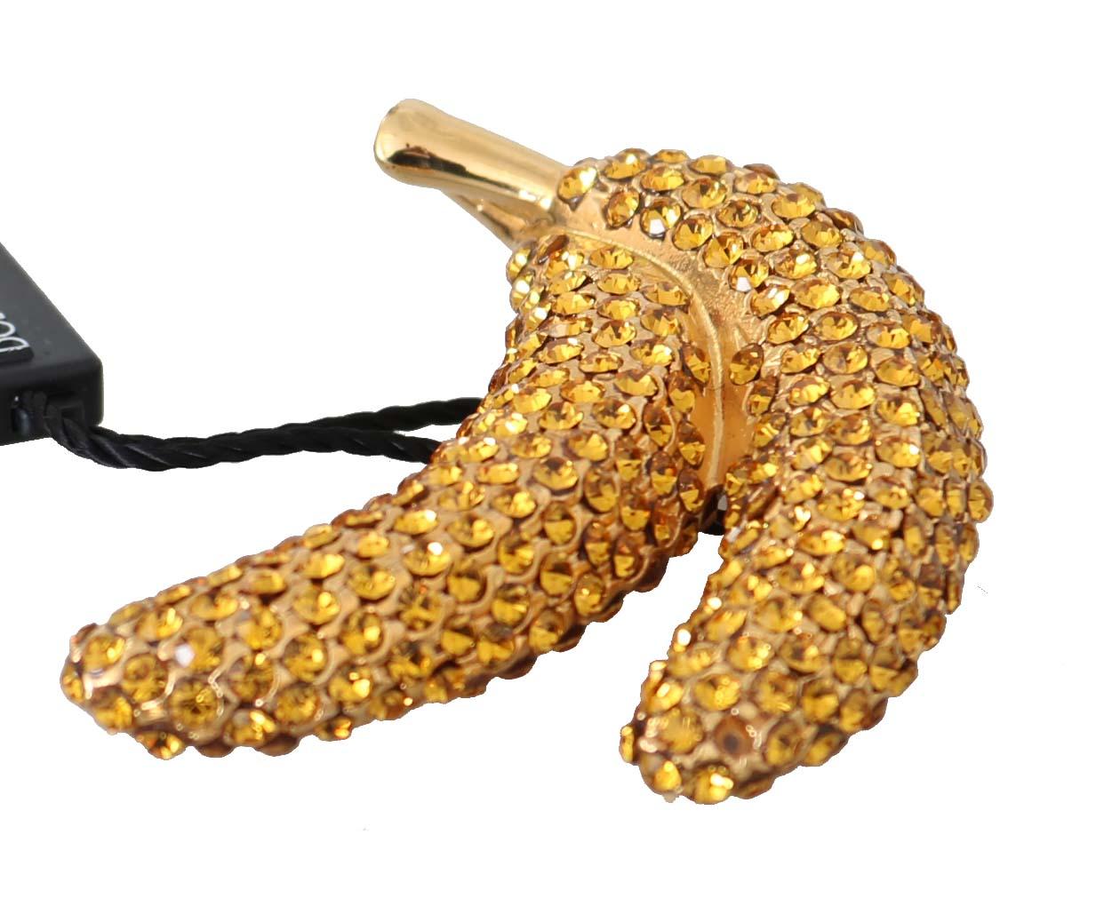 Dolce & Gabbana Women's Brass Crystal Catwalk Pin Brooch Gold SMYK1019