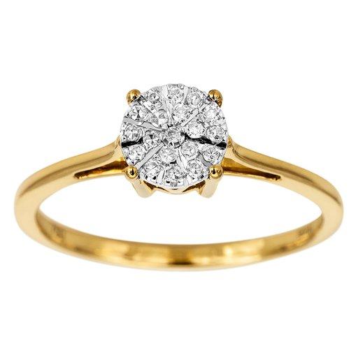 Diamantring i 18K guld, 17.0