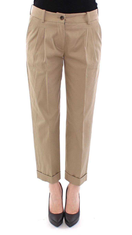 Dolce & Gabbana Women's Cotton Cropped Chinos Trouser Beige NOC10529 - IT40 S