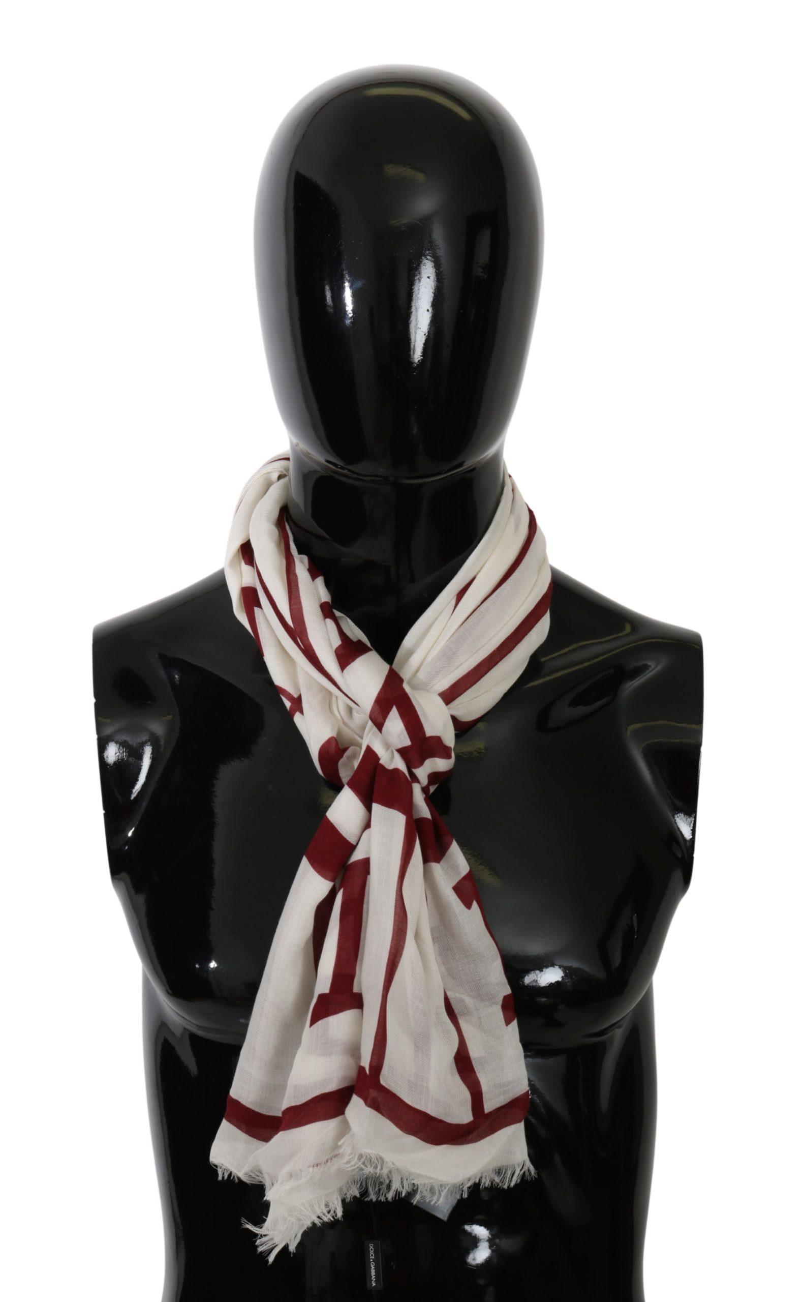 Dolce & Gabbana Men's Modal Printed Wrap Scarf White MS5561