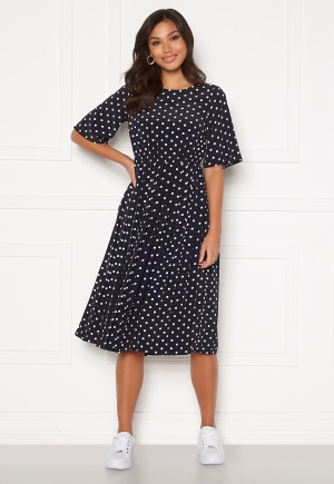 Happy Holly Eloise pleated dress Dark blue / Dotted 32/34
