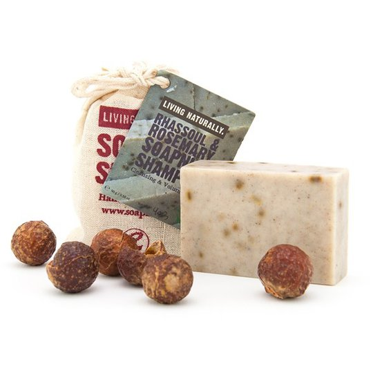 Living Naturally Rhassoul & Rosemary Soapnut Shampoo Bar, 90 g