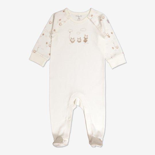 Dress med ugletrykk baby hvit