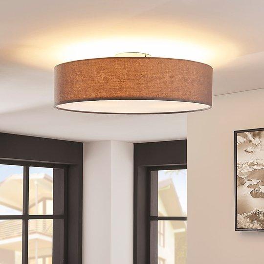 Harmaa LED-kattovalaisin Sebatin, kangasta