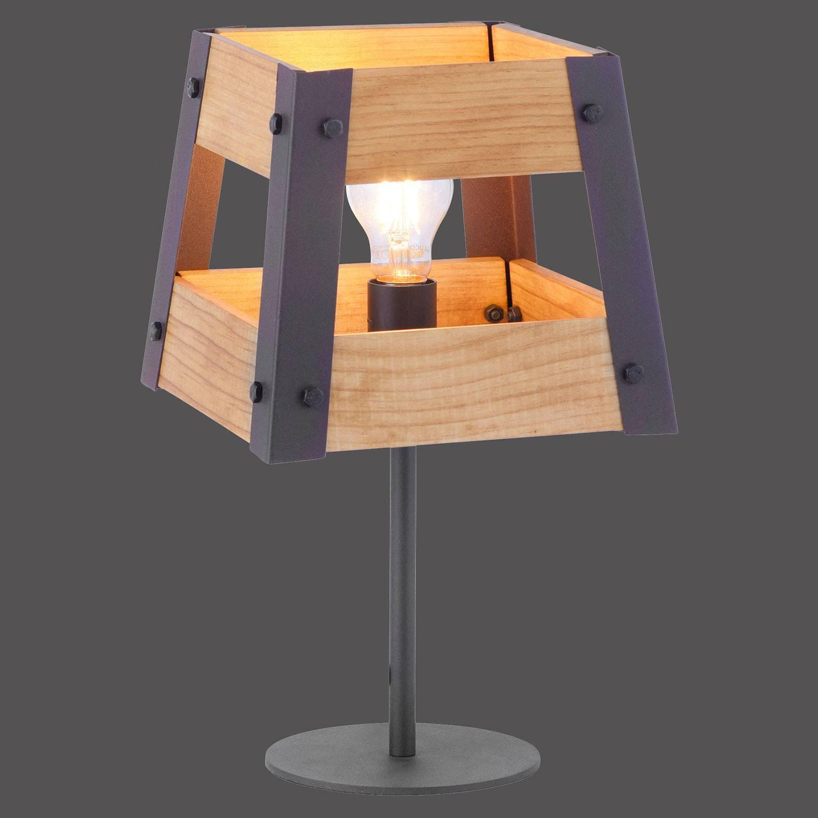Crate bordlampe av tre og metall