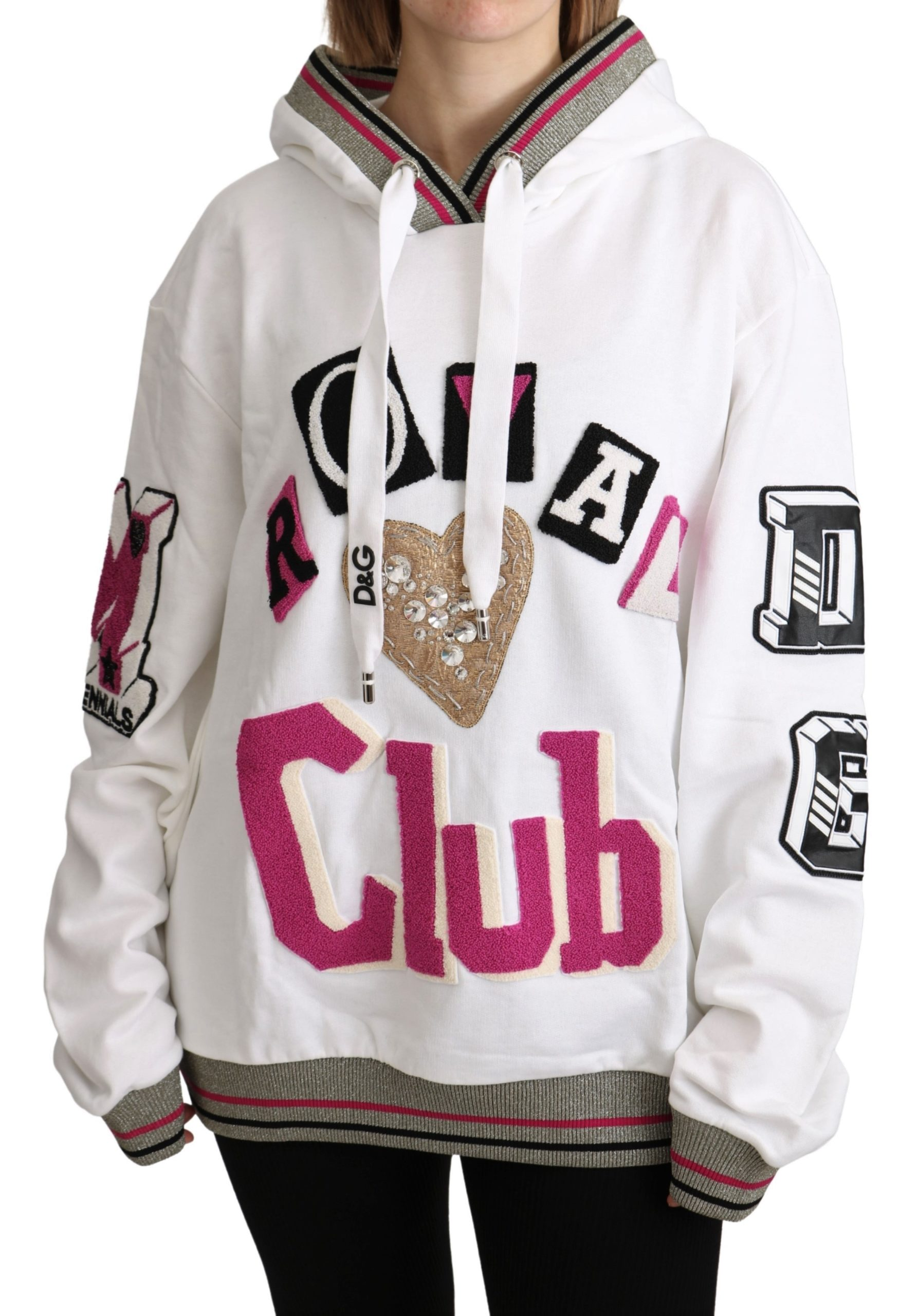 Dolce & Gabbana Women's Royal Club Hooded Crystal Sweater White TSH5181 - IT44 L