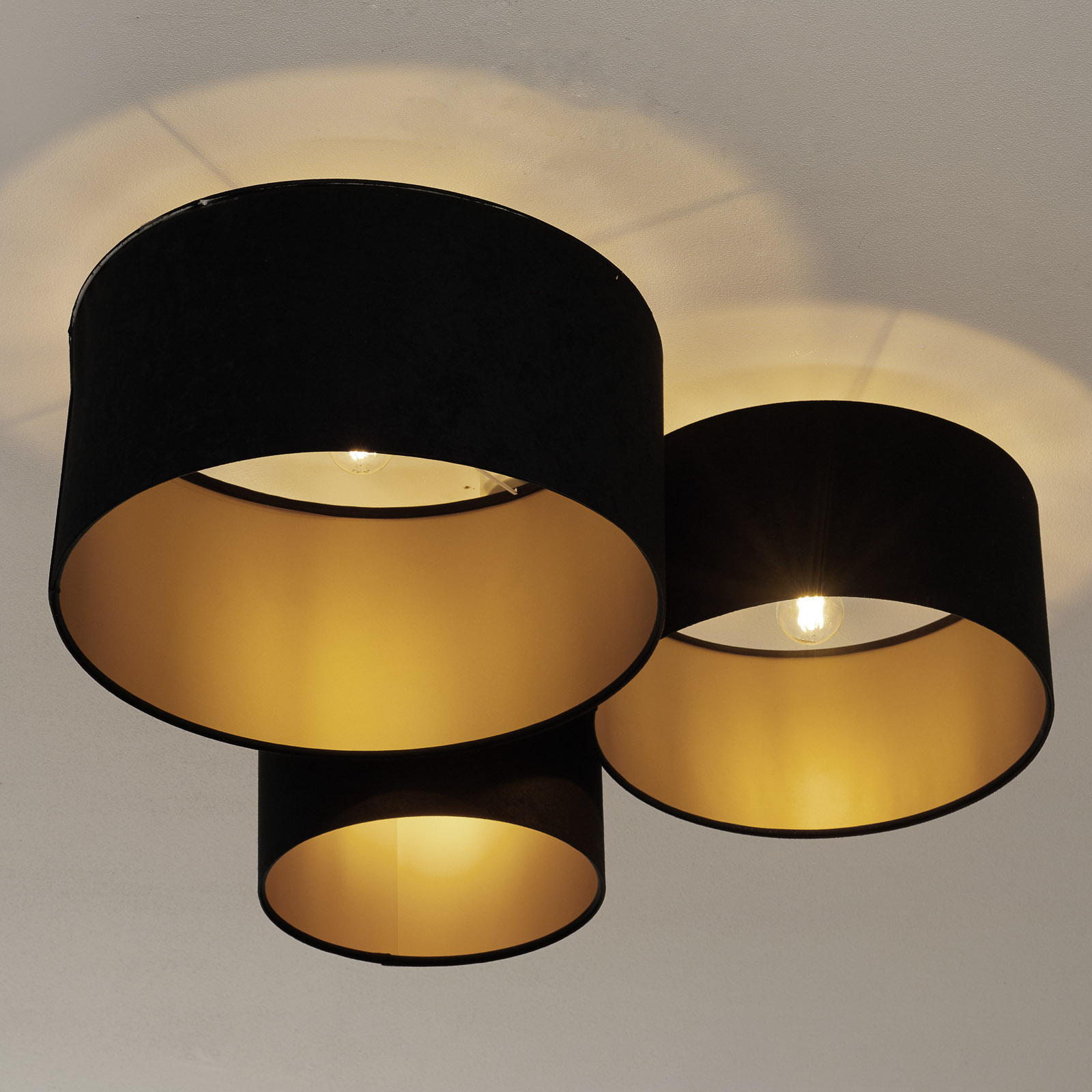 080-kattovalaisin, 3-lamppuinen, musta-kulta