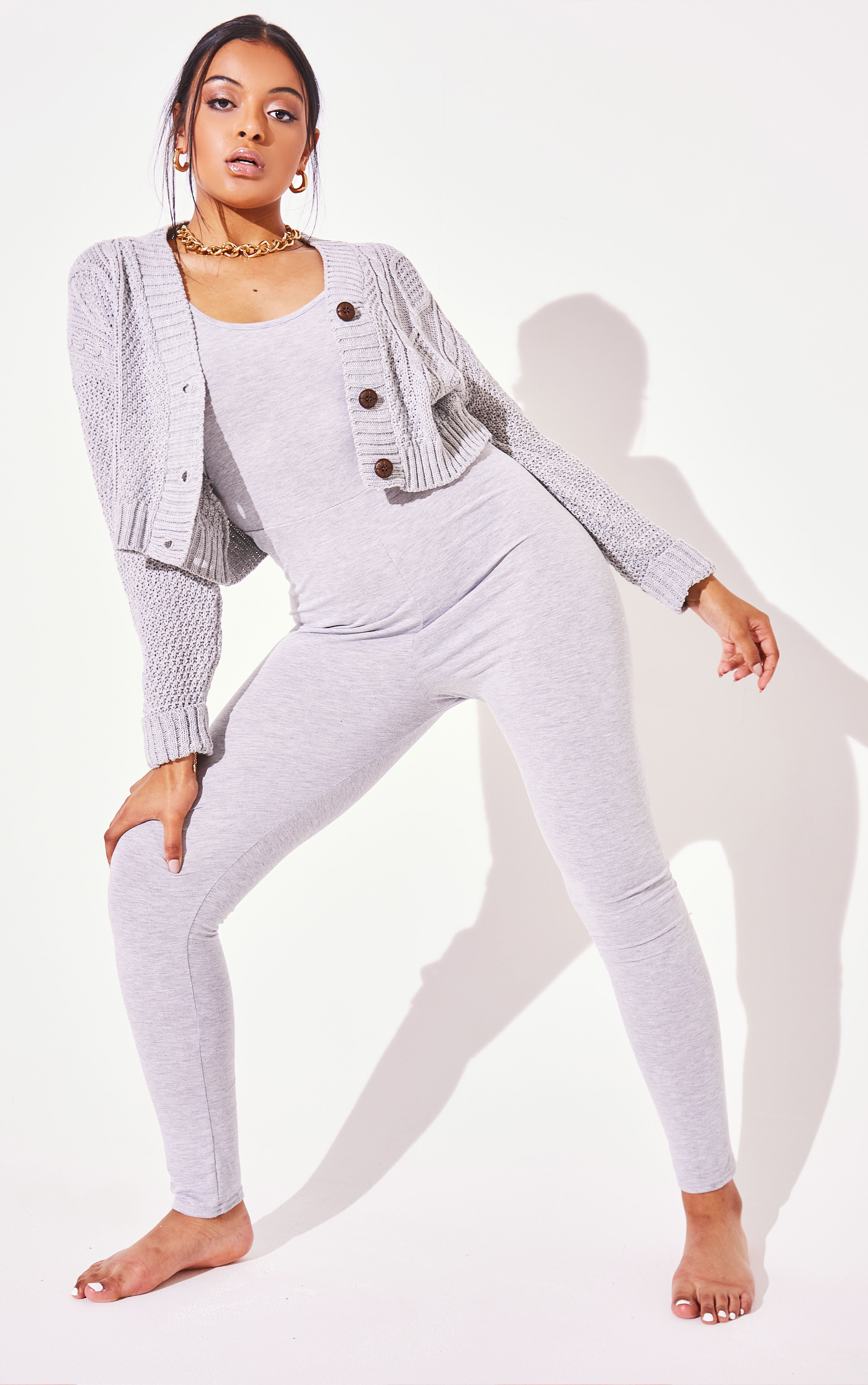 Cable Cropped Button Up Cardigan - Grey / 8/10