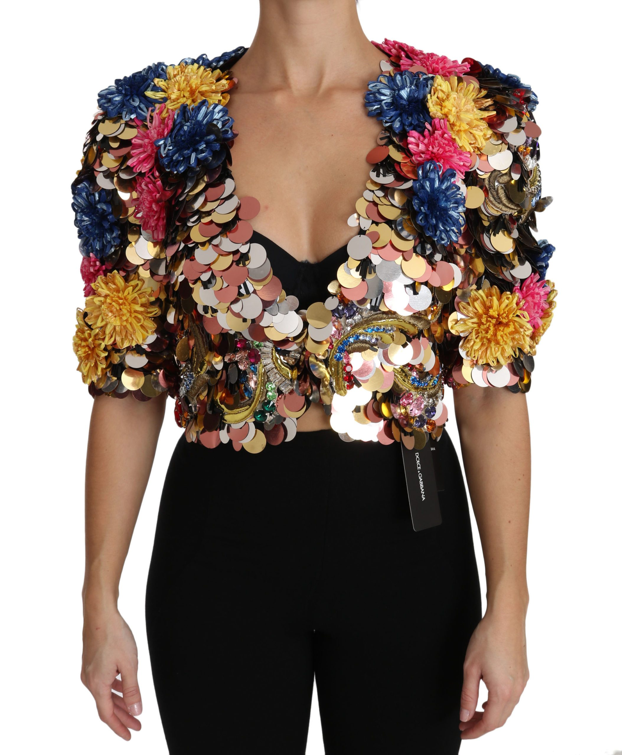 Dolce & Gabbana Women's Crystal Sequined Floral Coat Multicolor JKT2409 - IT36   XS