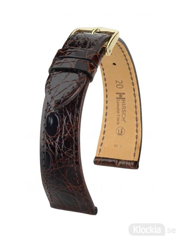 Hirsch Genuine Croco 18mm Large Brun/Guld 18920810-1-18