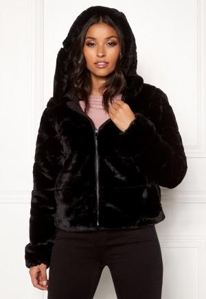 ONLY Chris Fur Hooded Jacket Black M