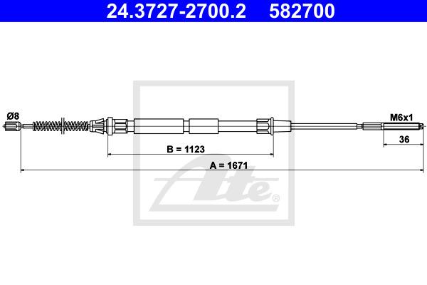 Käsijarruvaijeri ATE 24.3727-2700.2