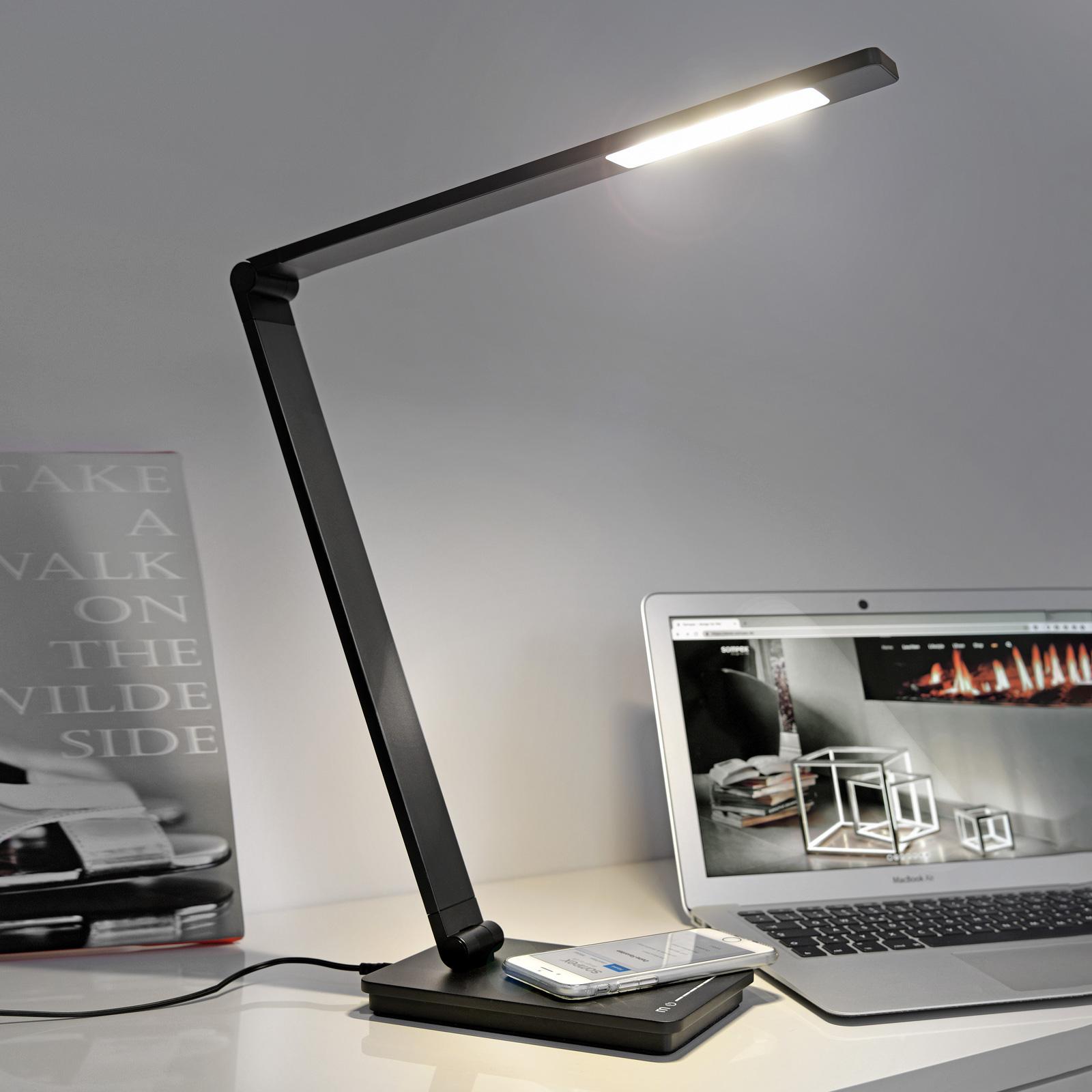 Työpöytälamppu Uli Phone QI-latausasema musta