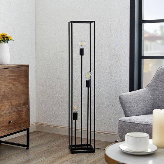 Lindby Krisha gulvlampe av svart stål, 3 lyskilder