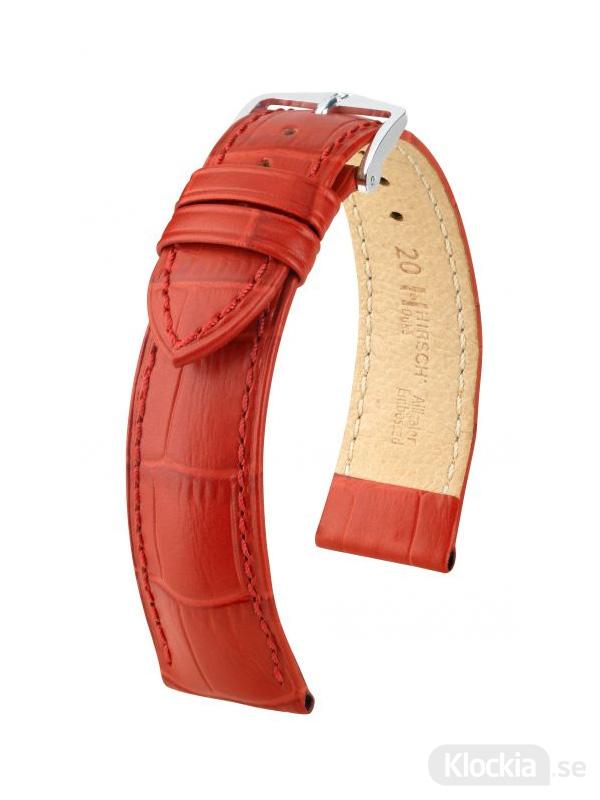Klockarmband Hirch Duke 18mm Medium Röd-Silver
