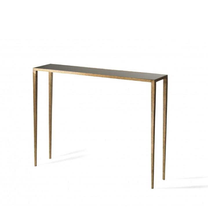 Porta Romana I Small Salvatore console table | French brass with black glass top
