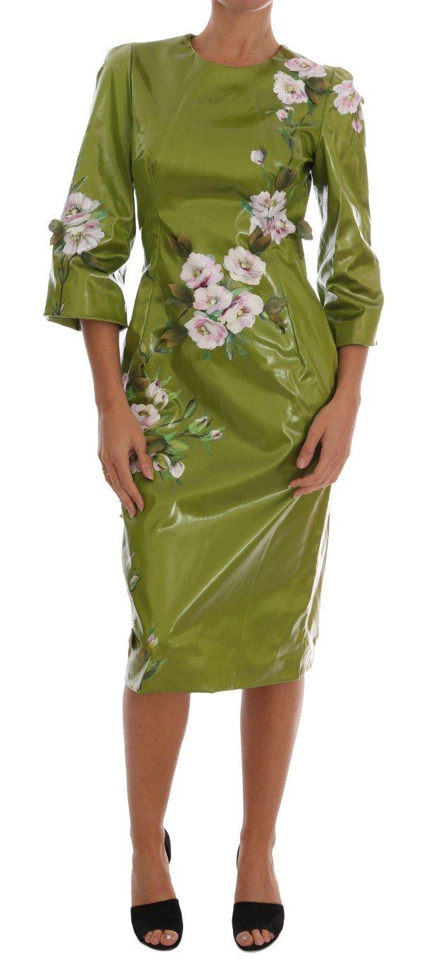 Dolce & Gabbana Women's Roses Print Sheath Dress Green DR1220 - IT40 S