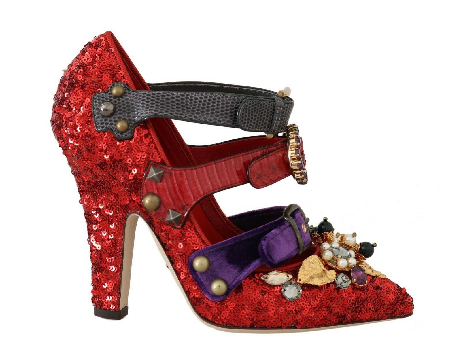 Dolce & Gabbana Women's Sequined Crystal Studs Heels Red LA5607 - EU39/US8.5