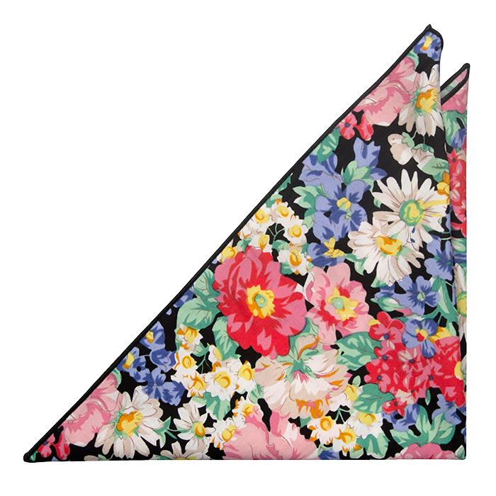Bomull Lommetørkler, Fargerik blomsterprint med sort bakgrunn og kanter