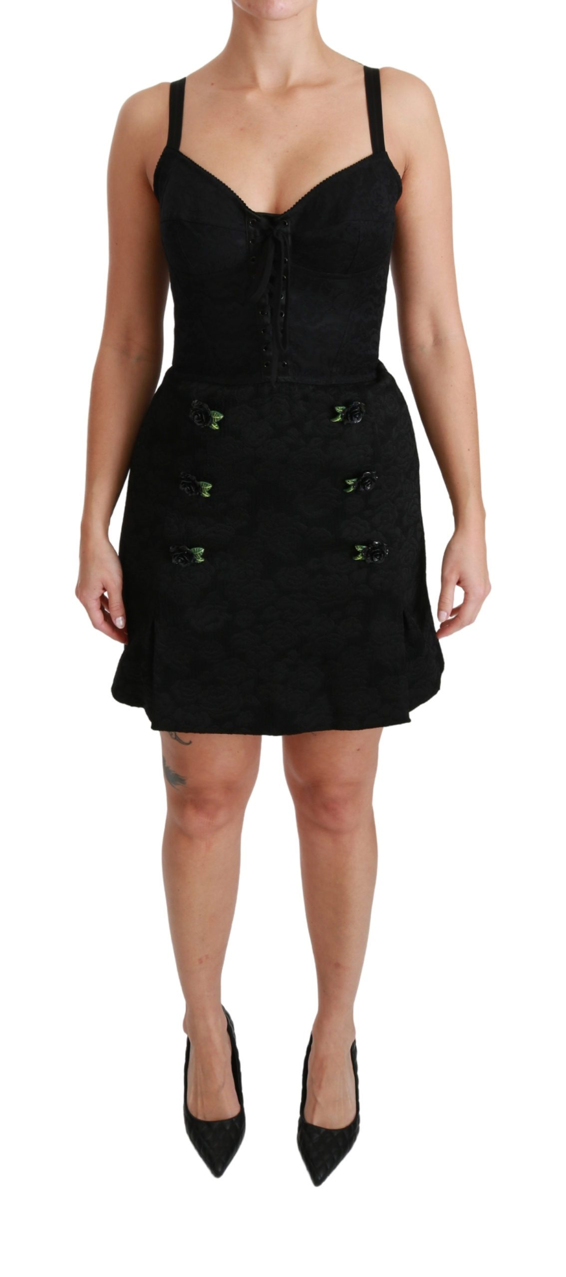 Dolce & Gabbana Women's Jacquard Corset Bustier Roses Dress Black DR2488 - IT40|S