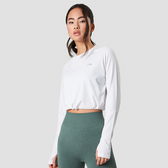 Define Cropped Adjustable Long Sleeve, White